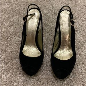 Black Peep Toe Sling back heels